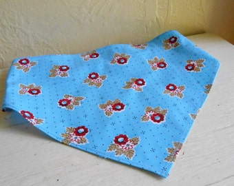 Sky Blue With Red Flowers On Childs Head Scarf