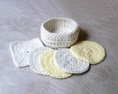 Spa Crochet Basket and Scrubbies Set, Bath Body Wash Cloths, Cotton Pads, Men, Women