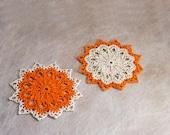 Two Orange Decor Crochet Lace Doilies, Table Decorations, Fall Home Decor, Set of 2, Handmade, Autumn Decor