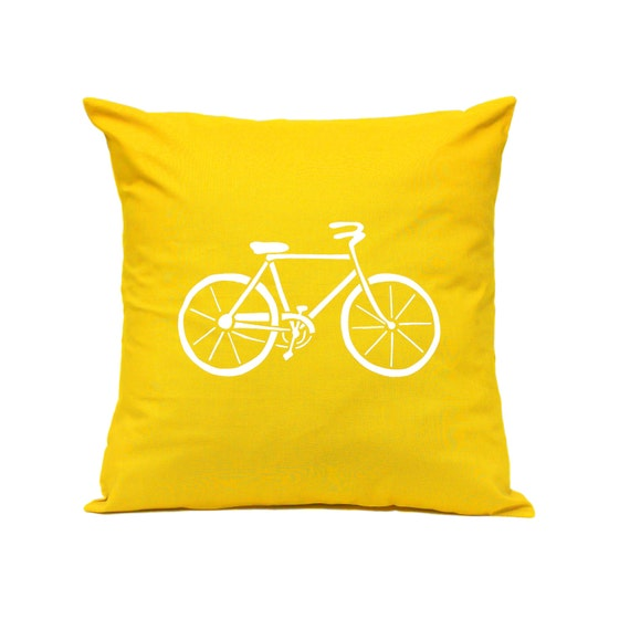 Etsy Yellow Throw Pillow : Items similar to Throw Pillow - Bicycle in YELLOW - Decorative Cushion - Handmade Pillow Cover ...