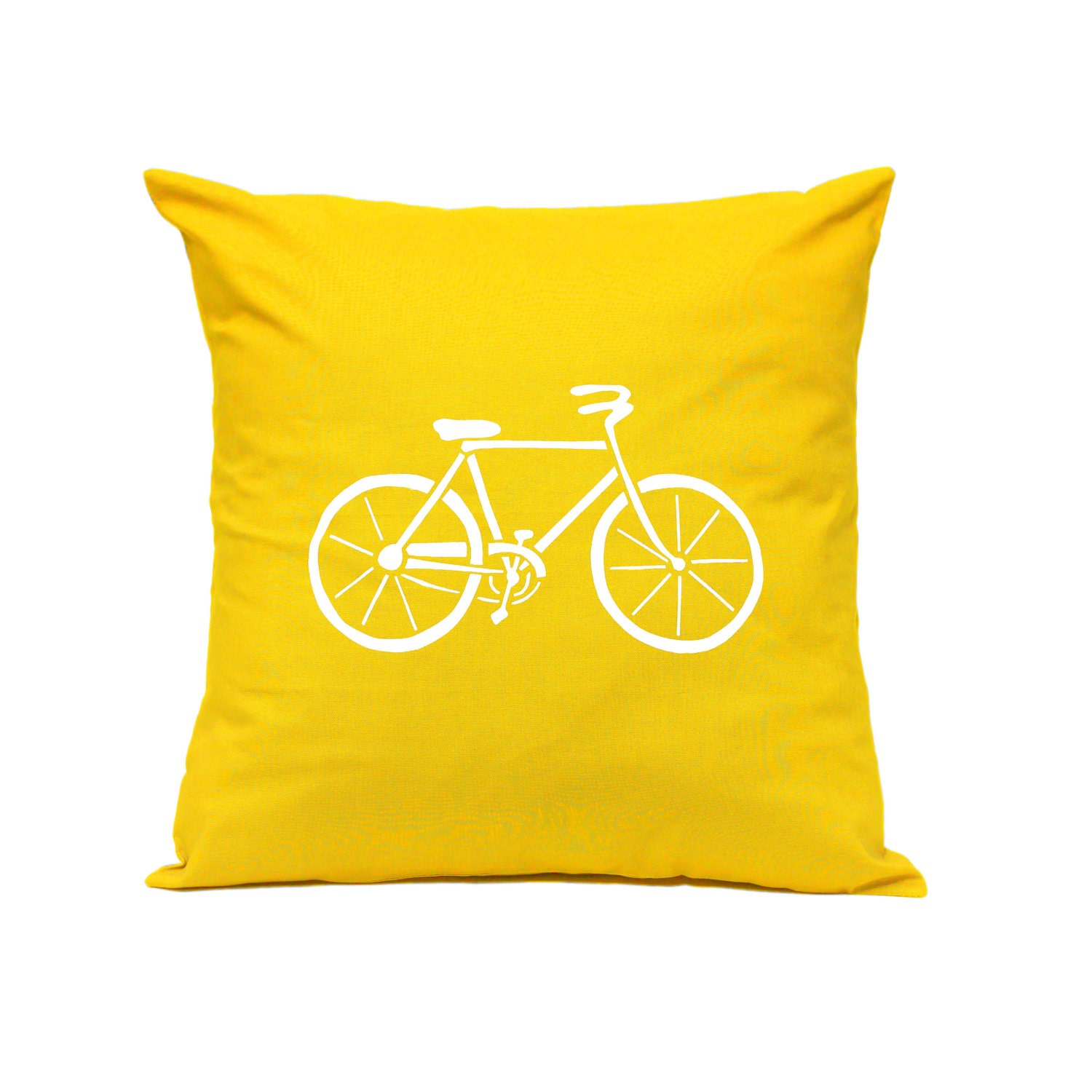 Throw Pillow Bicycle in YELLOW Decorative Cushion