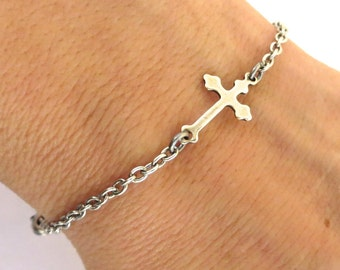 Small Cross Bracelet- Sideways Cross Bracelet- Sterling Silver Ox Finish