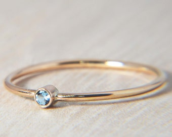 Simple Aquamarine Ring in 14k Gold - March Birthstone, Stacking Ring, Small Aquamarine Ring, Delicate Gold Ring,  Petite Aquamarine Ring