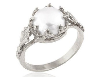 Sterling Silver Freshwater Cultured Pearl Engagement Ring, Pearl Engagement Ring