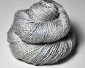 Tarnished white gold - Tussah Silk Lace Yarn