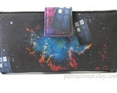 Ready to Ship - Handmade women bifold wallet clutch TARDIS in space - ID clear pocket - gift for her