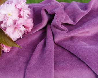 Organic Cotton Velour Fabric, Plum, Certified Organic, great for pads