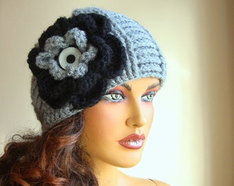 Crochet Gray Hat  With Large Flower, Hand Crochet Women Hat, Winter Accessories, Fall Fashion, Holiday Accessories