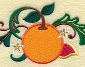 Embroidered Flour Sack Towel / Hand Towel / Quilt Block - Jacobean Fruit Spray Embroidery Design