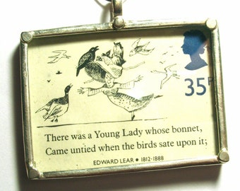 London Edward Lear Postage Stamp Preserved in Glass Pendant Silver Ready for Stringing or Making into Jewelry - AWESOME