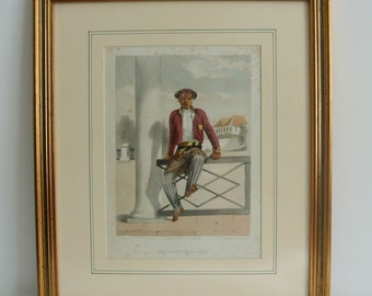 Retro Framed Hand Colored Indonesian Litho-Ernest Hardouin-Java