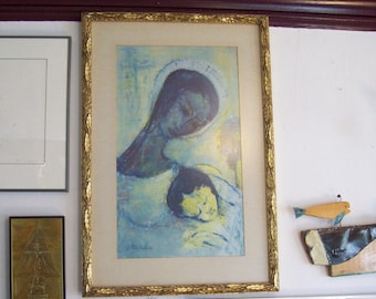 Modernist Madonna and Child in gold gilt wood frame with Madonna and Child Print by Fred Maurer