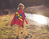 PERSONALIZED SUPERHERO Cape - Kids Cape with Initial - Ships FAST - Choose from 10 Color Combinations