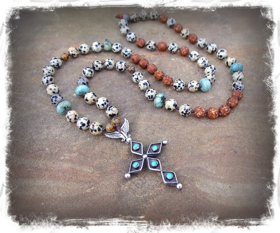 Native American Cross Necklace Sterling Silver Turquoise