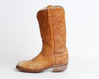 Vintage 70s Acme COWBOY BOOTS / Brown Leather Boots, 10 10.5 41