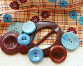 Vintage Floral Embroidered Ribbon Button Buckle Destash Burgundy & Blue Inspiration Kit