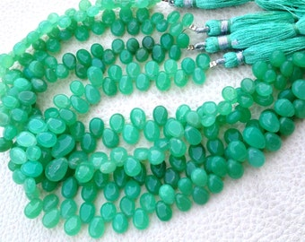 Brand New, 1/2 Strand, Unique AAA CHRYSOPRASE Smooth Pear Shape Briolette, 7-7.5mm, Great Item,Finest Quality
