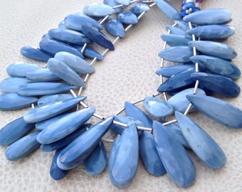 Brand New, 1/2 Strand, Peruvian BLUE OPAL ELONGATED Faceted Pear Briolettes, 20-25mm,Amazing Quality at Low Price,Superb
