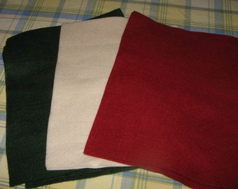 14 Pieces Sheets Green White and Red Felt Christmas Colors