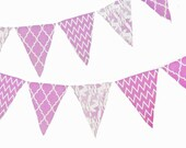 Radiant Orchid Banner, Bunting, Fabric Pennant Flags, Quatrefoil, Chevron, Deer, Baby Nursery, Wedding Decor, Birthday Party, Photo Prop