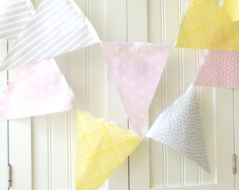 Banner, Bunting, Fabric Pennant Flags, Baby Nursery Decor, Wedding Garland, Birthday Party Decor, Pastel Yellow, Pink, Grey, Chevron, Stripe