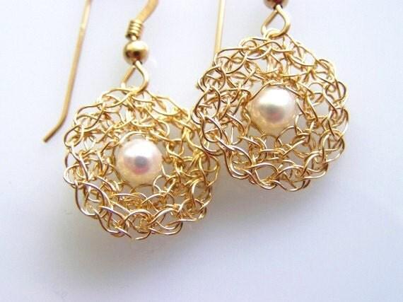 Gold Bridal Earrings, Pearl Bridal Earrings,  Pearl Bridesmaid Earrings, Wedding Pearl Earrings, Dangle Pearl Earrings