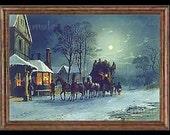 Vintage Winter Miniature Dollhouse Art Picture 1656