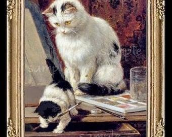 Cat Cats Kitten Miniature Dollhouse Art Picture 1311