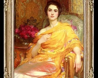 Portrait Of A Lady In Yellow Miniature Dollhouse Art Picture 6801