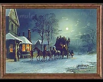Vintage Winter Miniature Dollhouse Art Picture 1656