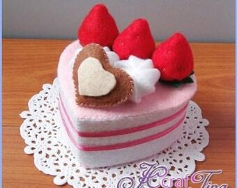 Heart-Shaped Strawberry and Cream Cake PDF pattern - Style 1