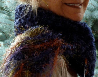Bohemian Accessories Navy Blue Crochet Scarf