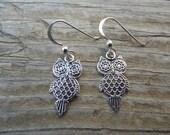 Owl earring in sterling silver