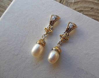 Byzantine pearl earrings handmade in sterling silver