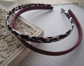 Brown Leopard . satin headbands . set of 2 . girls hair accessory . black brown white