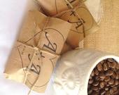RESERVED // Hawaiian Coffee Wedding Favors Set of 110. Custom Stamp.