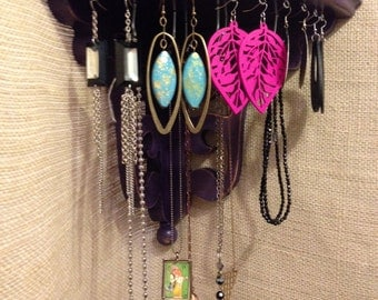 Upcycled Jewelry Holder Organizing Display (Corner Purple Shelf)