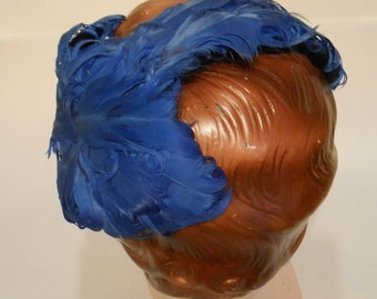 Ravished Royal Blues - Vintage 1940s 1950s Royal Blue Curled Feather Cookie Cutter Hat Fascinator