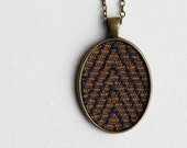 Chevron Necklace Tribal Necklace, Recycled Jewelry Stripes Geometric Jewelry, Chevron Pendant, Brown Gold, Navy Blue, Tribal Jewelry