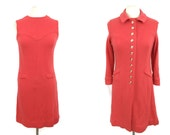 On Sale Vintage 1960s Knit Wool Dress and Jacket ~ 60s Mod Coral Go Go Dress Suit ~ Small