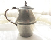 Antique Pewter Pitcher Antique French Pitcher Metal Syrup Pitcher 1800's French Pewter Pitcher Vintage Rare Pewter Pitcher From AllieEtCie