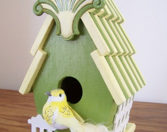 Pretty Decorative Birdhouse with White Picket Fence and Beautiful Bird - Gift Idea - Green,Yellow & White - Handpainted/Decorated Home Decor