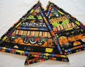 Halloween Mug Rugs Snack Mats Triangle Scrappy Brights Reversible Quilted Set of 2