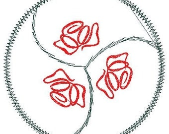 Machine Embroidery Pattern Triskelle Rose and Thorn Symbol Design