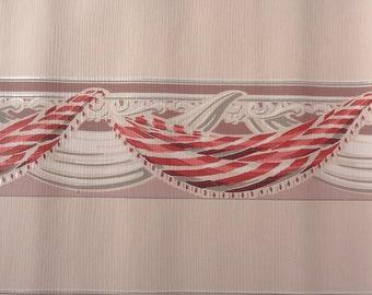 Vintage wallpaper - Pink Red Maroon Swags - 1 Yard