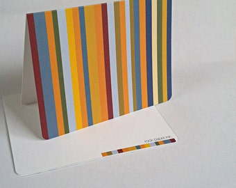 Modern Bright Stripes Notecards Stationary
