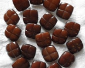 Vintage Square Buttons, Faux Leather Brown Buttons, Plastic with Self shanks ~ 12 in lot ~ Blazer or Coat Buttons ~ 1950s ~ Never Used