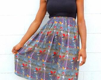 SALE!!!!!!!! Fall leaves printed midi skirt 1990s 90s VINTAGE