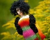 Set OOAK Turquoise Knit Dress Fur Jacket  for SD Dollfie Ooak Abstract sd10 sd13 ball jointed doll dress Bjd dress Bjd knitting