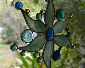 Aqua and Lime Mix stained glass sun.